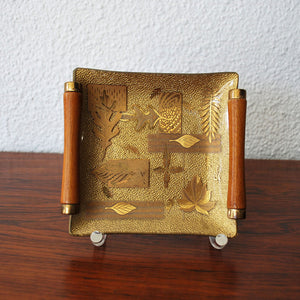 Gold Leaf Tray With Handles