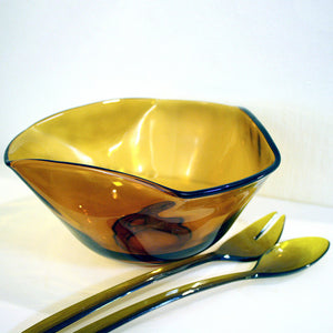 Glass Serving Bowl With Utensils