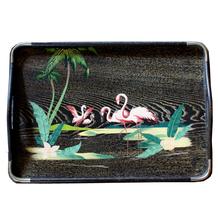 1950s Flamingo Painted Tray