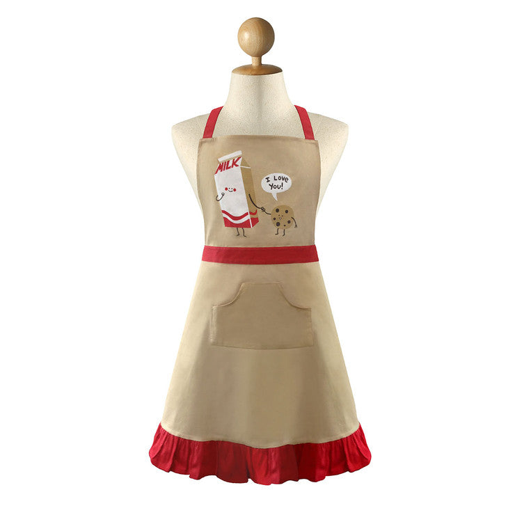Cookie Loves Milk Ruffle Apron
