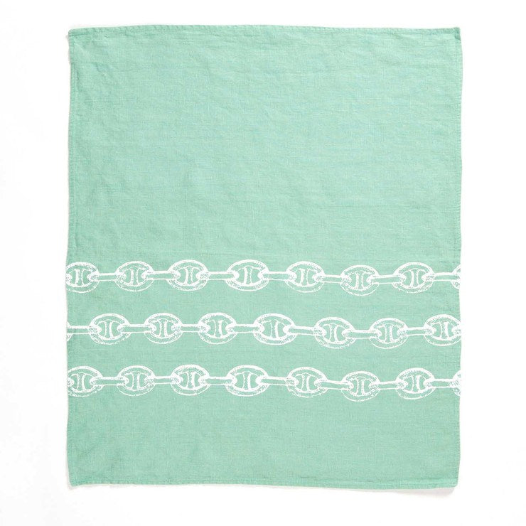 Anchor Chains Hand Towel Aqua