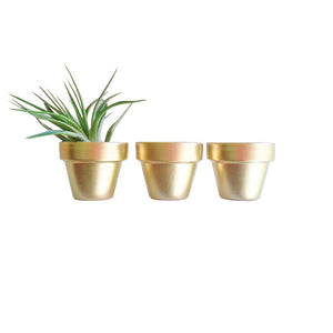 Clay Pot Set Of 3 Gold