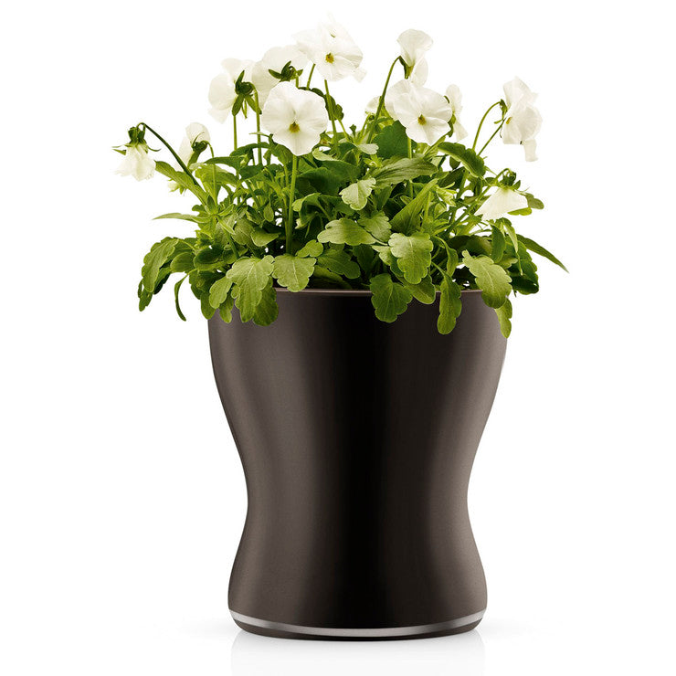 Glass Flower Pot Black Large