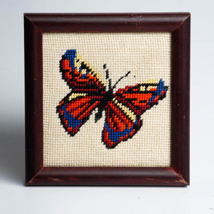 '70s Framed Needlework Butterfly