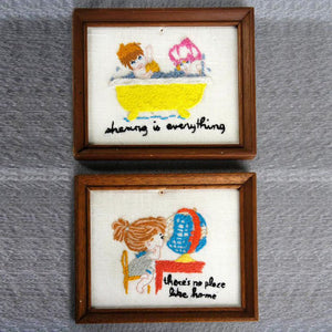 '70s Framed Needlework Pair