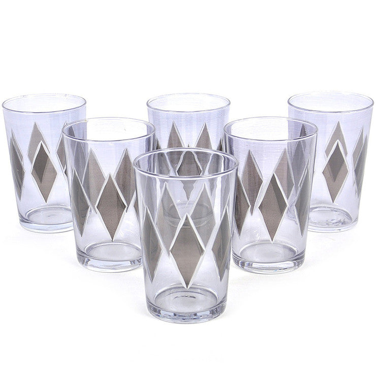 Lozange Glass Smoke Set of 6