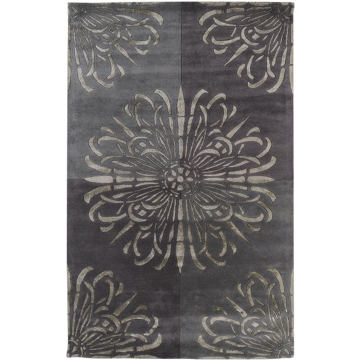 Floral 5 x 8 Rug Gray