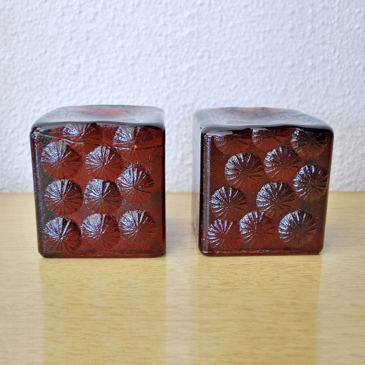 Blenko Intaglio Bookends