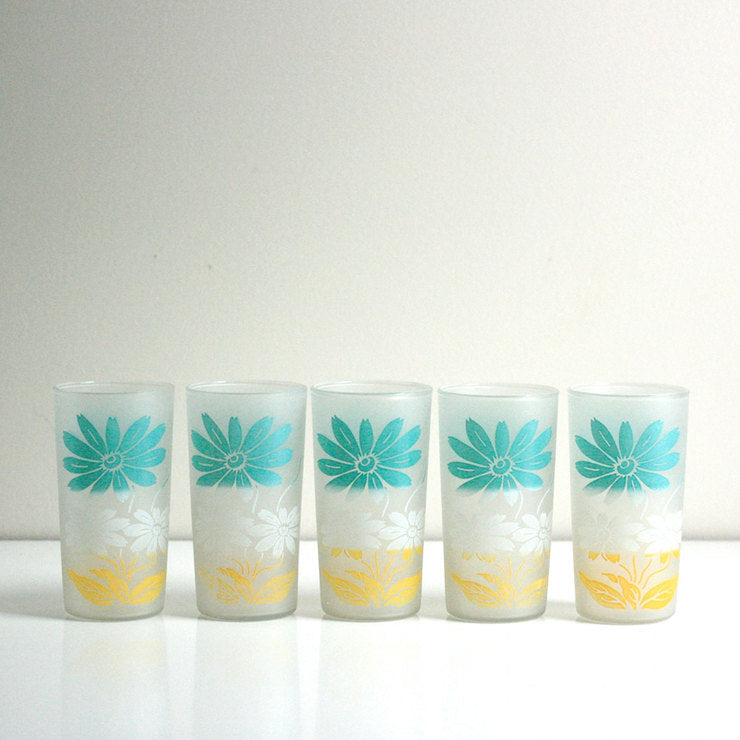 Frosted Flower Tumblers Set Of 5