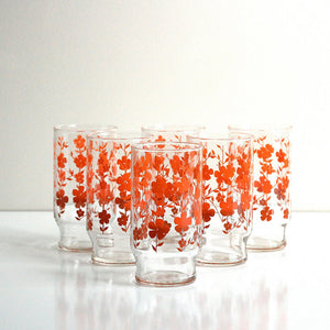 Red Ombre Flower Tumblers 6Pc
