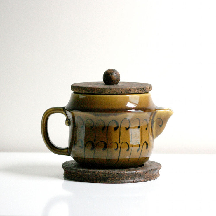 Ceramic And Cork Teapot Set