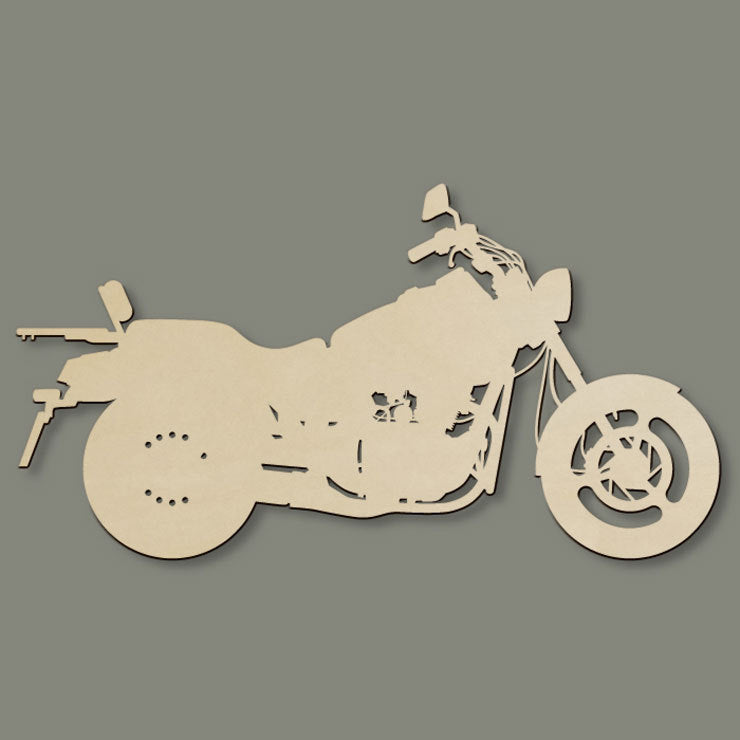 Laser-Cut Wood Art Motorcycle