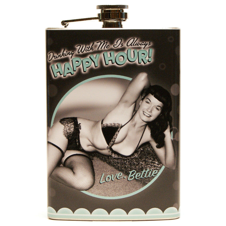 Bettie Page Happy Hour Flask
