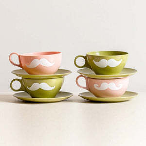 Green & Pink Cups & Saucers