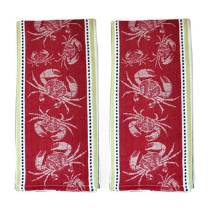 Jacquard Dishtowel Crab Set Of 2
