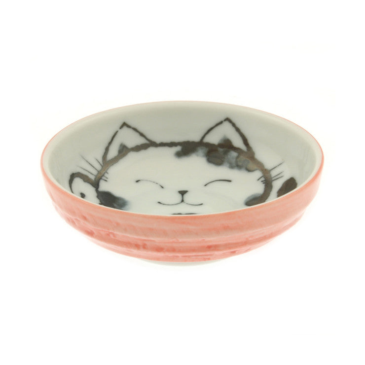 Cat Plate 3.75\ Pink Set Of 4""