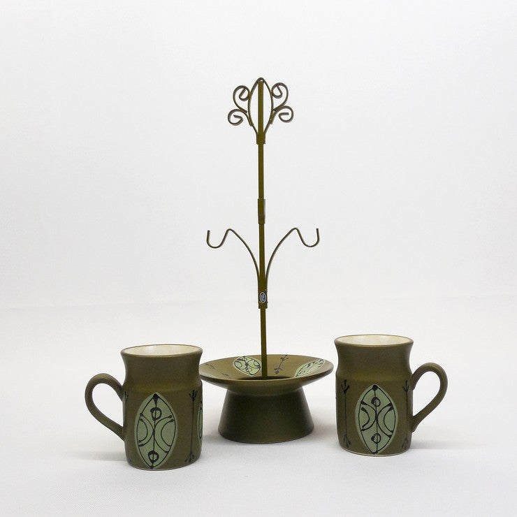 Earthenware Mug Pair & Stand