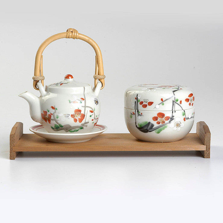 Hand-Painted Tea Set With Tray
