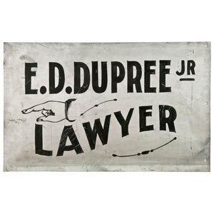 Hand Painted Metal Lawyer Sign