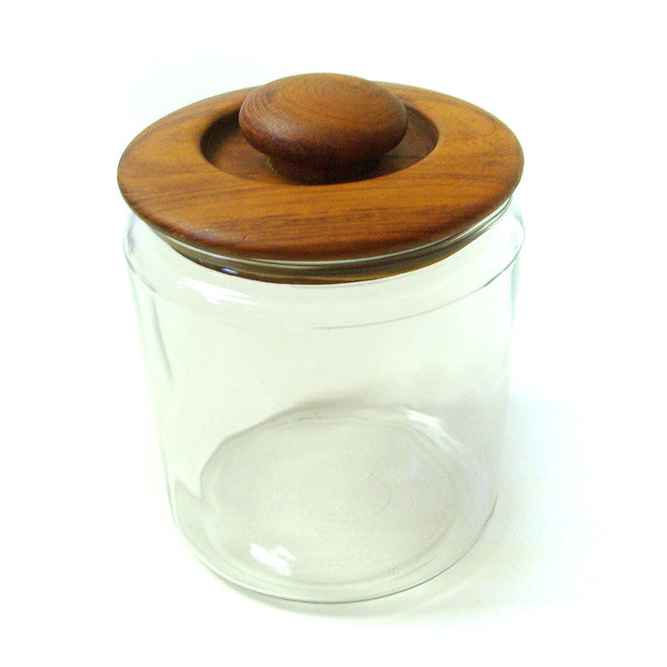 Glass Canister With Wood Lid