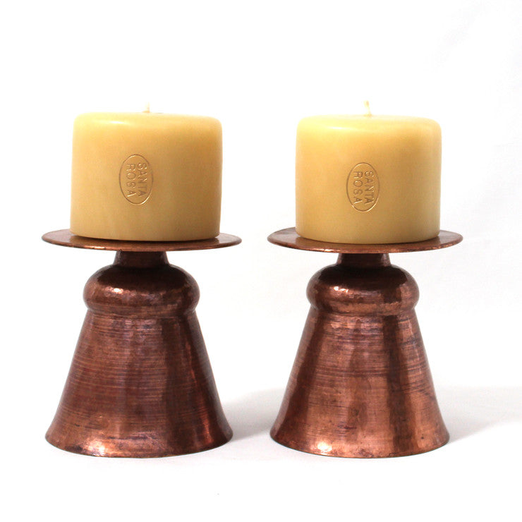 Copper Candlestick & Candle 2Pc