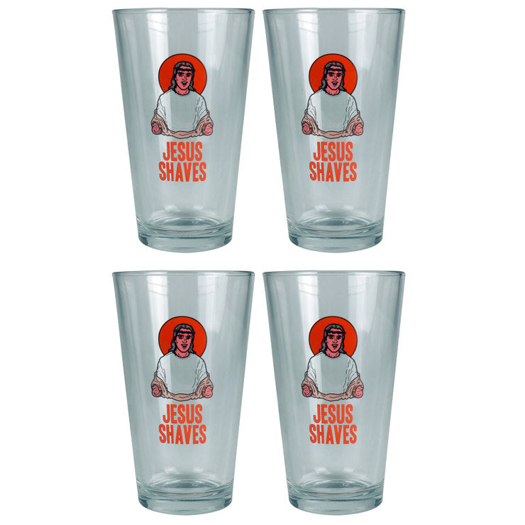 Jesus Shaves Pint Glass Set Of 4