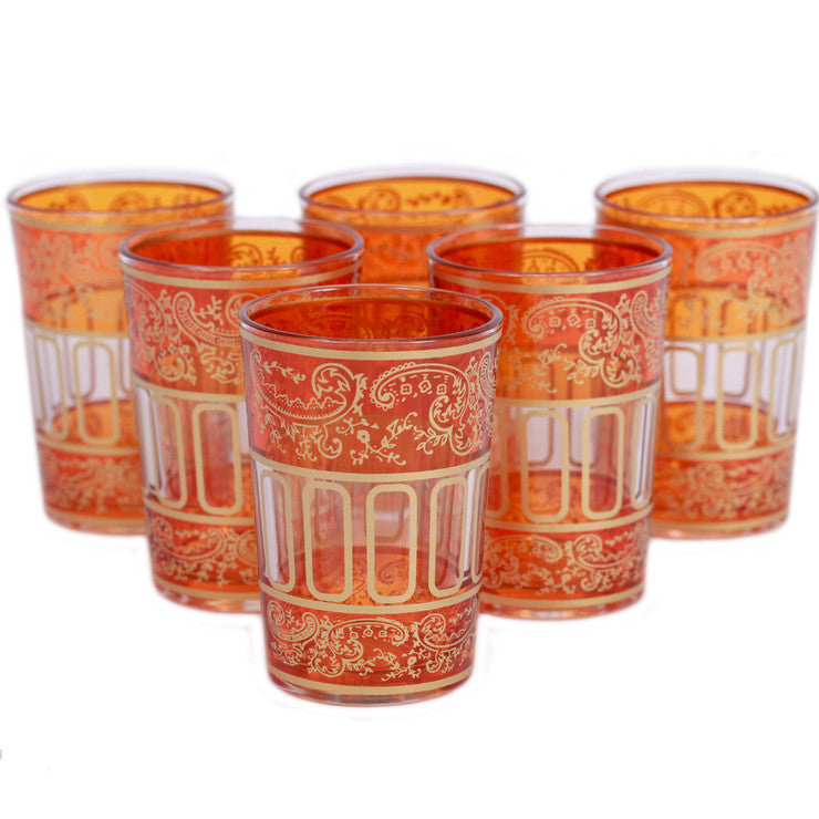 Lalla Glass Orange Set Of 6