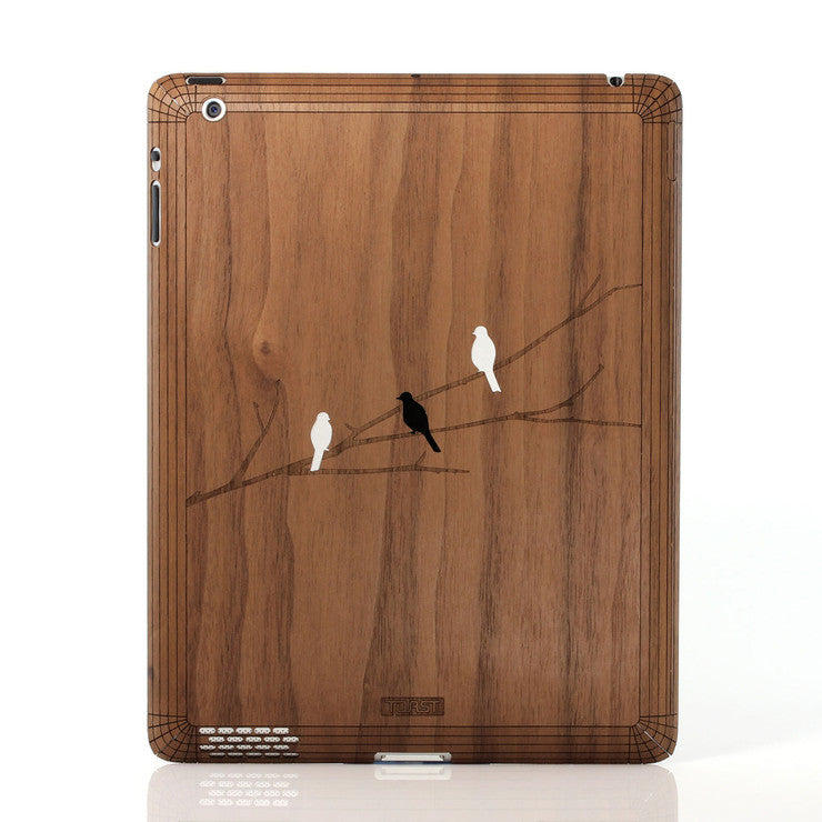 iPad Skin Bird on Branch Walnut