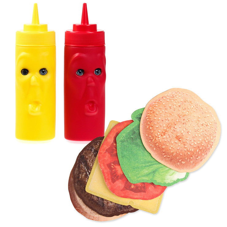 Burger, Ketchup, And Mustard Set