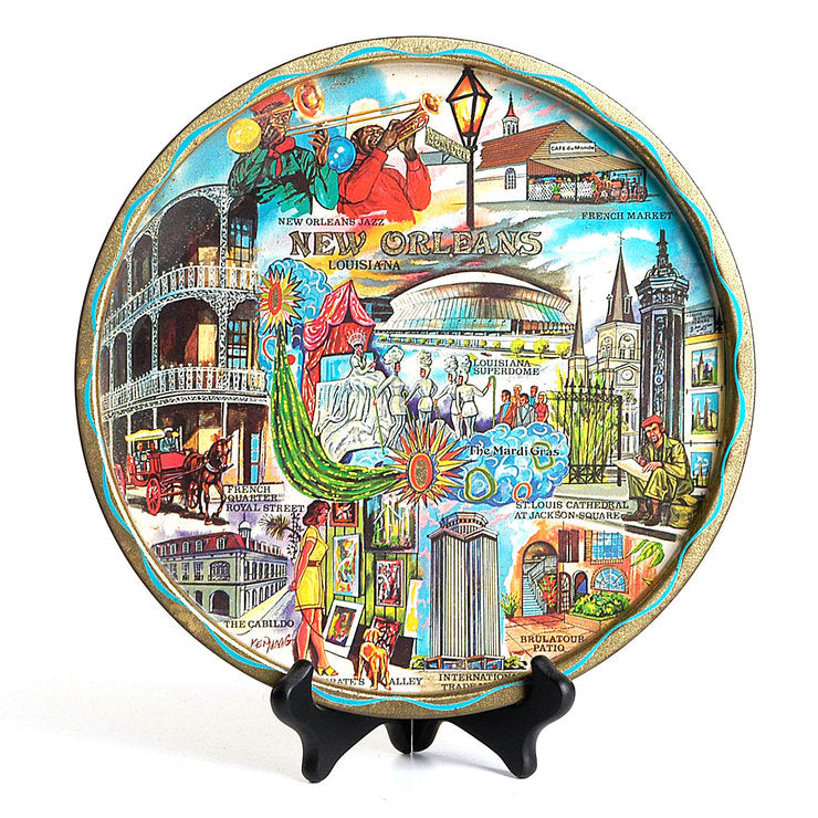 1960s Colorful New Orleans Plate