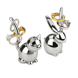 Bunny And Cat Ring Holder Pair
