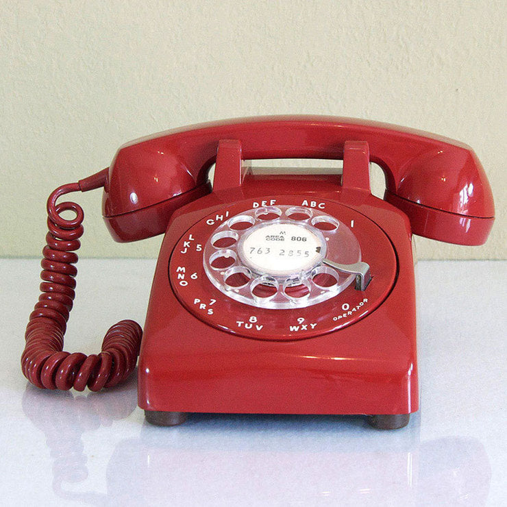 1960s Red Dial Desk Phone
