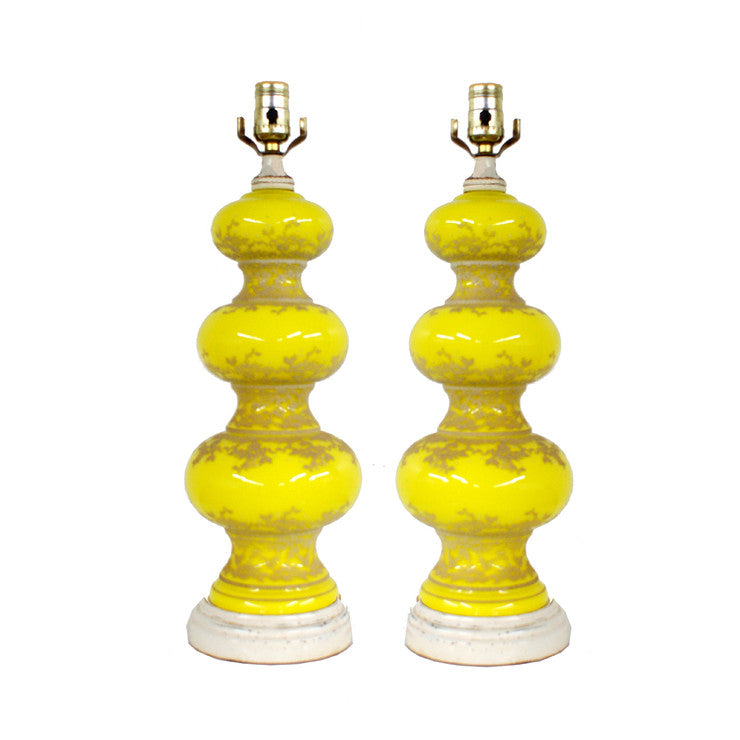 Yellow Glass Lamps Pair