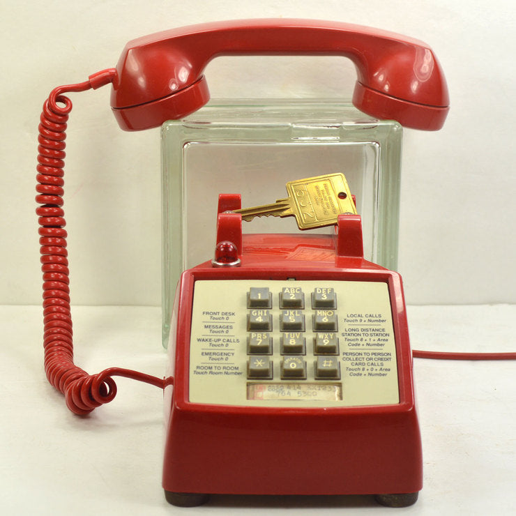 Red Hotel Push Button Desk Phone
