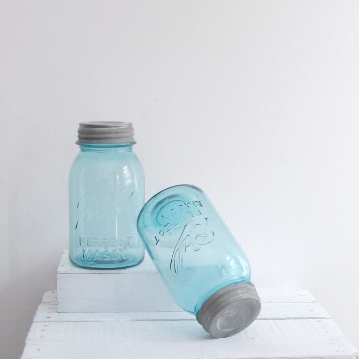 Blue Quart Mason Jar Pair