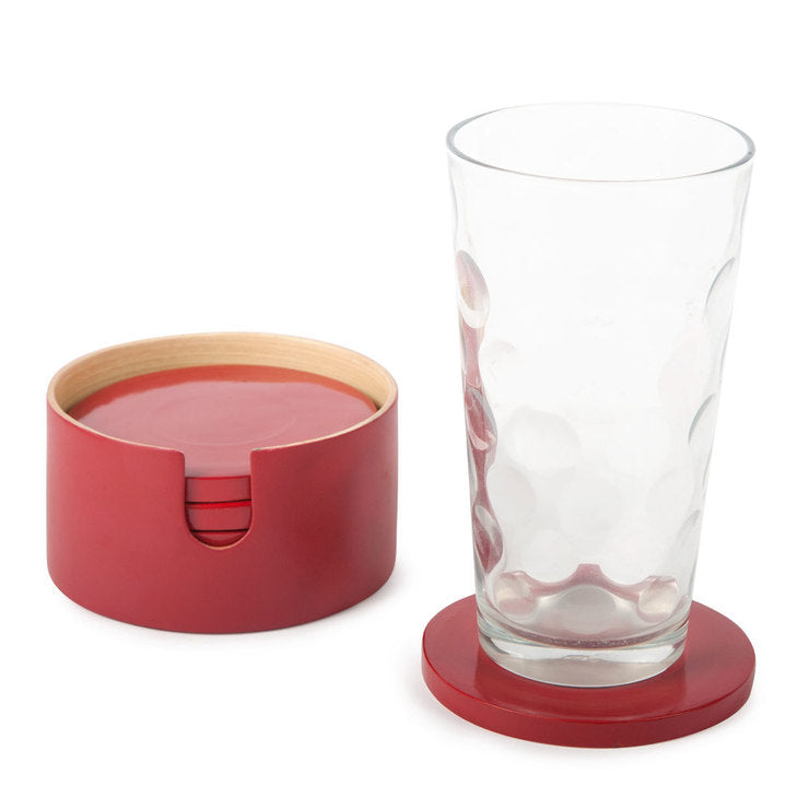 7 Piece Coaster Set Crimson