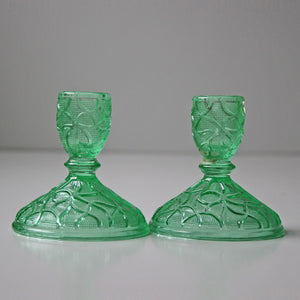 Green Candle Holder & Glass