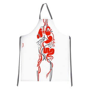 Flow Apron White Red