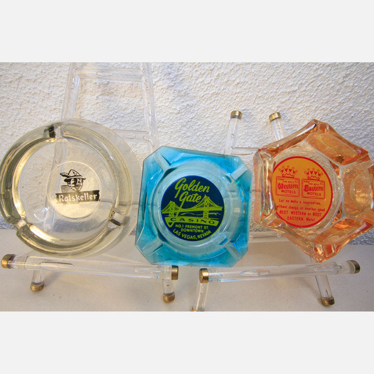 Las Vegas Glass Ashtray Trio
