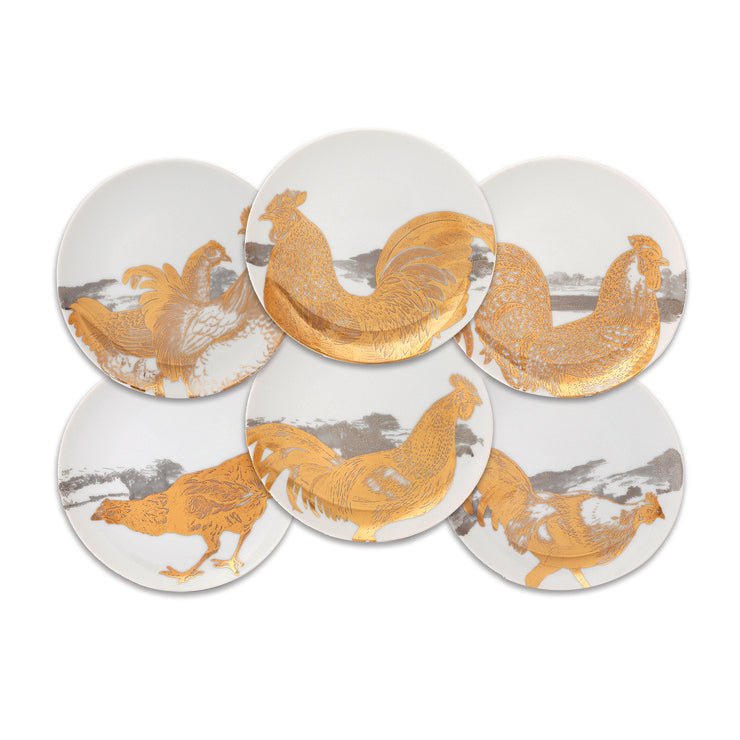 Roosters Canapé Set Gold