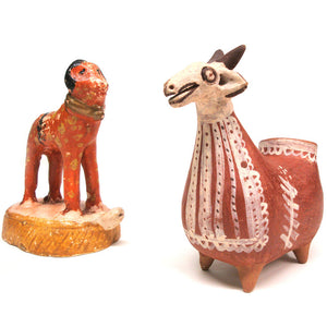 Ceramic Ram Figures, Set Of 2
