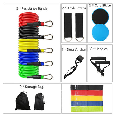 19 Pcs Workout Resistance Bands Set Exercise Bands Set Core Sliders