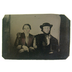 Couple With Bearded Man Tintype