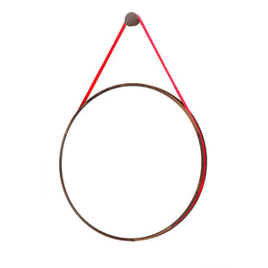 Loop Mirror Walnut Red