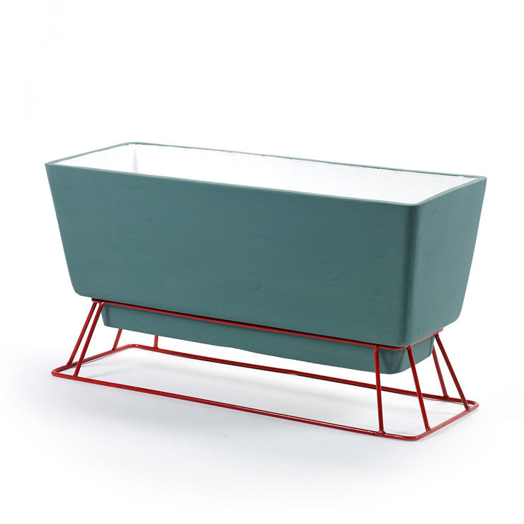 Balcony Planter With Stand Green