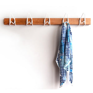 Five Hook Modular Coat Rack Wht
