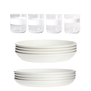 Glass Tumbler Dinner & Salad Set