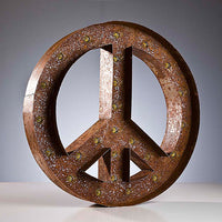Marquee Light Peace Sign Rust