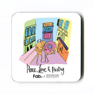 Peace Love Pastry Set 4 Coasters