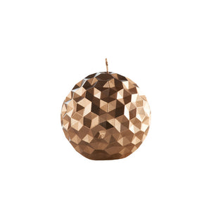 Facetted Sphere Candle Bronze